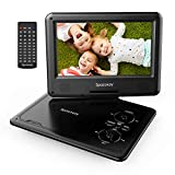 Portable DVD Player 11.5' with 5 Hours Rechargeable Battery by SPACEKEY, 9' Swivel Screen, Support USB/SD Slot and 1.8M Car Charger, Support Memory and Region Free (Black)