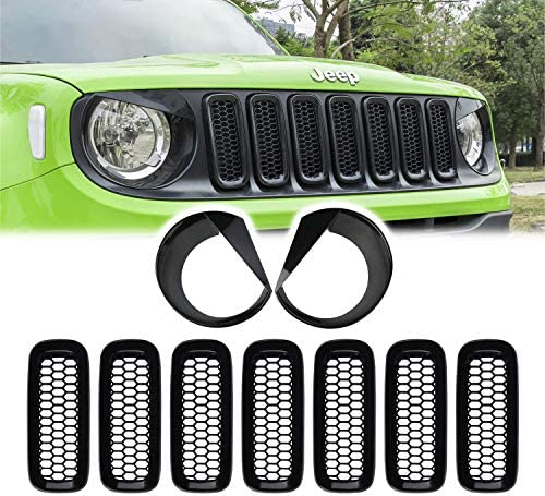 Yoursme Front Grille Inserts Mesh Grill Guard & Front Light Headlight Cover Bezel for Jeep Renegade 2015-2018 Upgrade Clip-in Angry Bird Style Headlight Lamp Covers Trim ABS Black