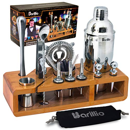 Elite 23-Piece Bartender Kit Cocktail Shaker Set by BARILLIO Stainless Steel Bar Tools With Sleek Bamboo Stand, Velvet Carry Bag Recipes Booklet Ultimate Drink Mixing Adventure