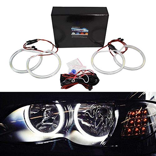 iJDMTOY 7000K Xenon White 284-SMD LED Angel Eyes Halo Ring Lighting Kit for BMW E46 3 Series Non-HID Headlights version
