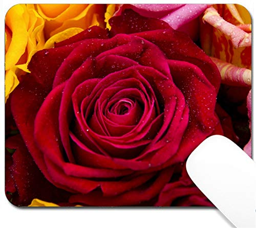 MSD Mouse Pad with Design - Non-Slip Gaming Mouse Pad - Image ID 27118079 Colorful Bouquet Red Rose Closeup Background of Flowers Buds