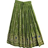 Womens Indian Sequin Crinkle Broomstick Gypsy Long Skirt (Olive Green)