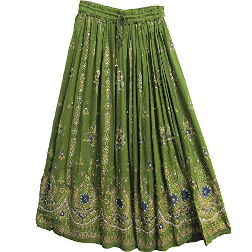 Yoga Trendz Womens Indian Sequin Crinkle Broomstick Gypsy Long Skirt (Olive Green)