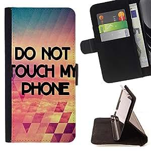 Dragon Case- Caja de la carpeta del caso en folio de cuero del tir¨®n de la cubierta protectora Shell FOR Sony Xperia Z1 C6902 C6903 C6906- Don't Touch My Phone