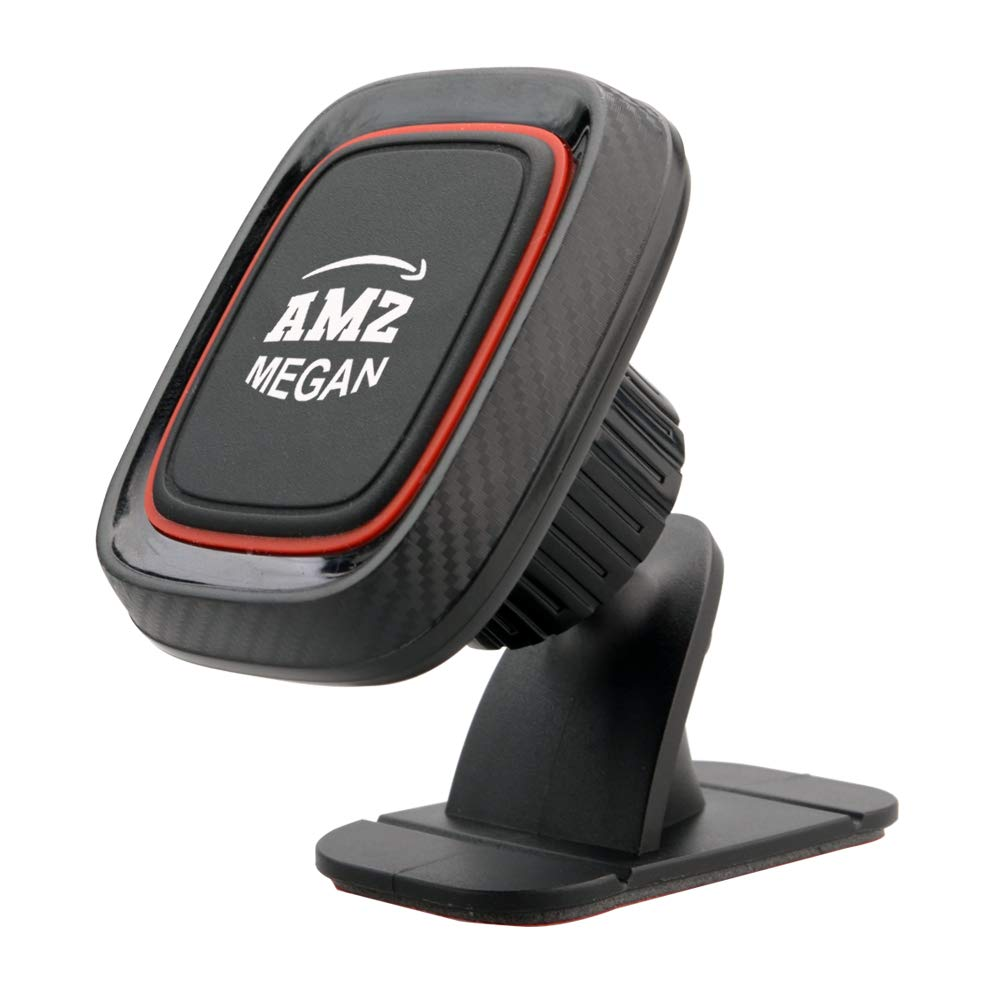 AMZ MEGAN, 2 Pack Black Magnetic Mount car Holder Universal Air Vent and Stick-on-Dashboard Car Phone Holder,for Cell Phones Mini Tablets,4 Metal Plates Mounts,Home or Office