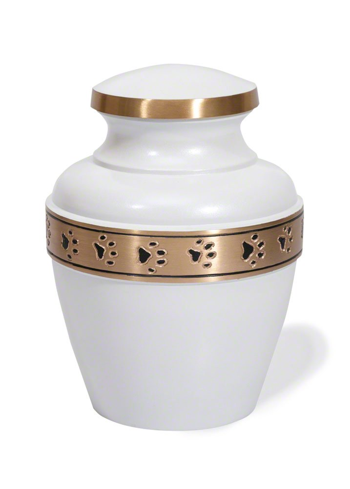 Best Friend Services Avalon Paw Series Pet Urn (Small, Cloud White With Brass Band)