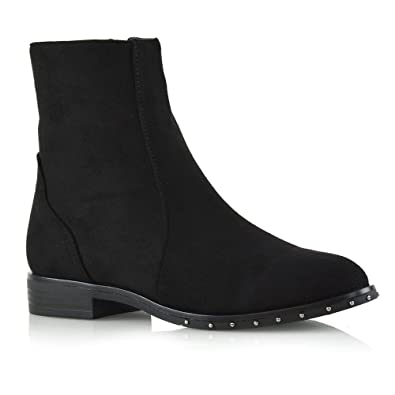 48e822ed496 ESSEX GLAM Womens Chelsea Ankle Boots Flat Low Heel Studded Zip Casual  Pixie Biker Booties Size 3-8