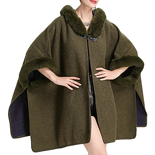Womens Oversized Wool Shawl Wrap - HOMEYEAH Faux Rex Rabbit Fur Trimmed Cape Open Front NYC (Faux Fur Trimmed Green Cape)