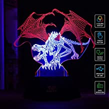SAVFY LED 3D Optical Illusion Dinosaur Light Illuminated Desk Lamp Night Light for kids Christmas Gifts