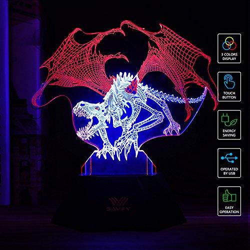 SAVFY LED 3D Optical Illusion Dinosaur Light Illuminated Desk Lamp Night Light for Kids Christmas -
