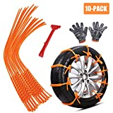 zip ties for car tires - GAMPRO Anti-skid Chains 10 Pcs, Portable Emergency Traction Aid Anti-slip Snow Mud Sand Tire Chains Most Car SUV Van ATV etc. Comes Free Shovel Gloves(10 Pcs)