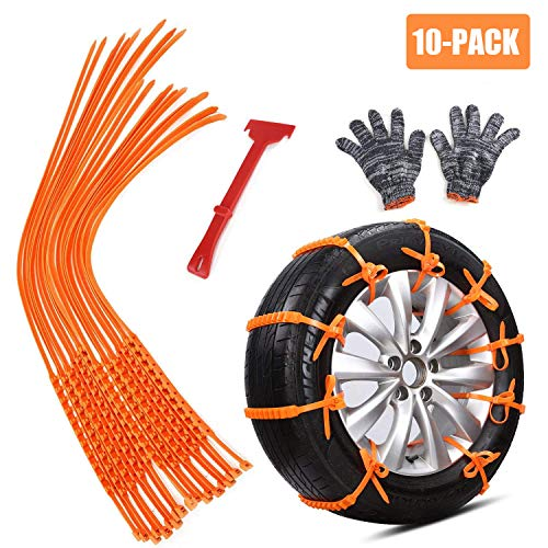 GAMPRO Anti-skid Chains 10 Pcs, Portable Emergency Traction Aid Anti-slip Snow Mud Sand Tire Chains Most Car SUV Van ATV etc. Comes Free Shovel Gloves(10 Pcs) by GAMPRO (Image #7)