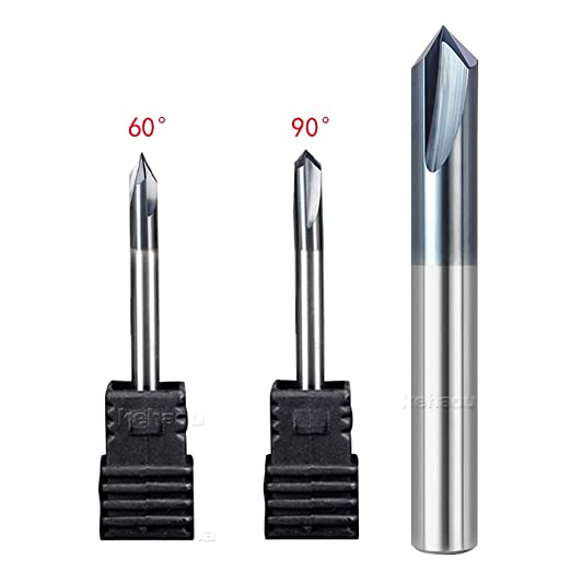 90/° Degree V-Groove Chamfer End Milling,6mm Diameter 3 Flutes Carbide with TiAlN Coated KEHAOU CNC Tools Chamfering Mill