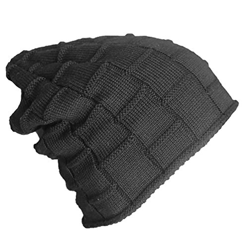 Bodvera Unisex Winter Knit Wool Warm Hat Soft Slouchy Beanie Skully Cap in 3 color, One Size, Black by Bodvera (Image #3)