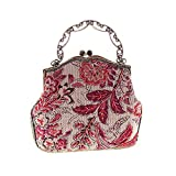 Covelin Women's Vintage Clutch Handbag Flower Beaded Evening Tote Bag Hot Red
