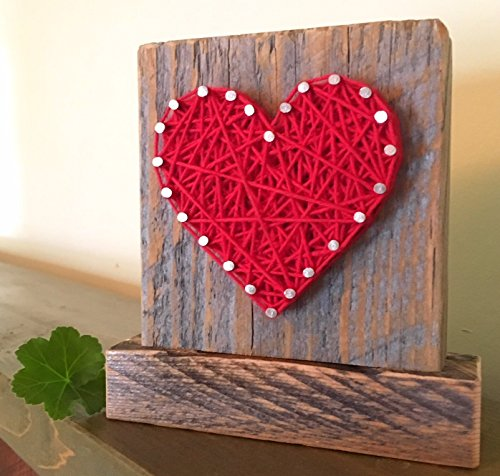 Sweet & small freestanding wooden red string art heart sign. Perfect for Father's Day, home accents, Wedding favors, Anniversaries, housewarming, teacher gifts and just because. by Nail it Art by Nail it Art