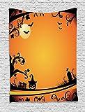 asddcdfdd Vintage Halloween Tapestry, Halloween Themed Image Eerie Atmosphere Gravestone Evil Pumpkin Moon, Wall Hanging for Bedroom Living Room Dorm, 60 W X 80 L Inches, Orange Black