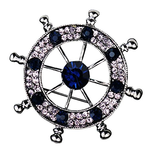 MonkeyJack Men's Alloy Nautical Brooch Badge Pin Helm Shirt Brooch Pin Clip Crystal Jewelry - Metalic