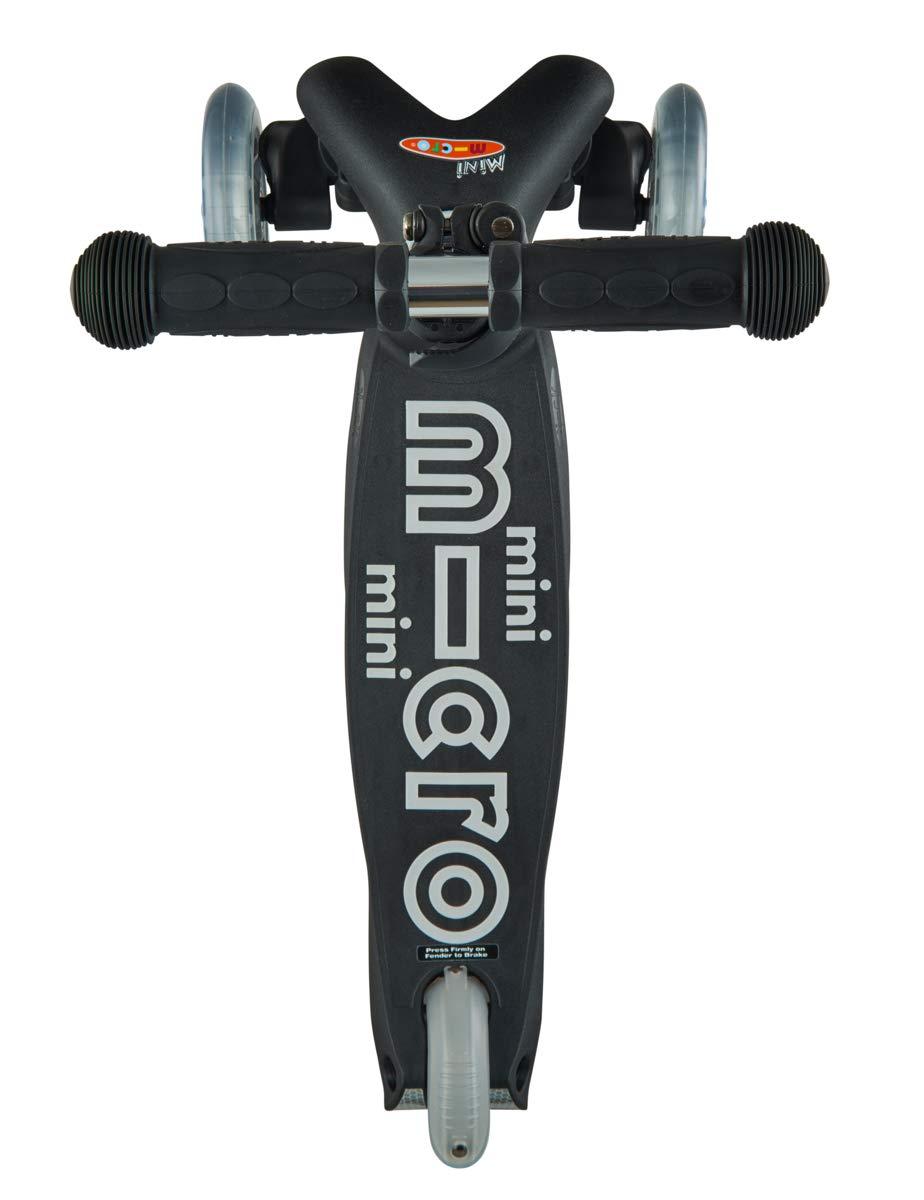 Micro Mini Deluxe, Negro - MMD039 - Patinete 2-5 años, Manillar de aluminio regulable en altura, Rodamientos ABEC9, Plataforma con serigrafía ...