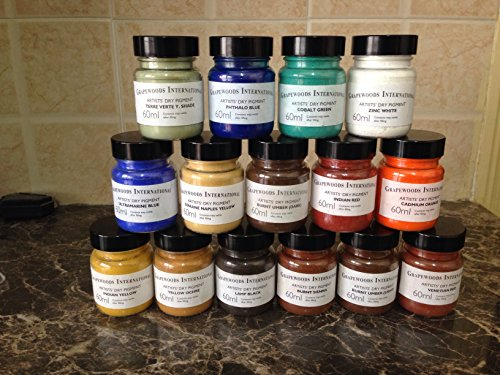 Pigments artist(15 plastic jars 60 ml each).Lamp black,burnt sienna,indian yellow,phthalo blue,terre verte yellowish shade,ultramarine blue,burnt umber light,yellow ochre,Venetian red,burnt umber dark,naples yellow,cobalt green,indian red,z.white,cadmium  by Grapewood