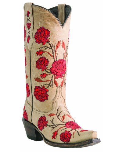 Lucchese M5645.S54 Womens Natural Tan Panamera Leather Cowboy, Western Boots 8 B