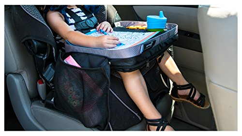 Kids E-Z Travel Lap Tray, provides organized access to drawing, snacks and activities for hours on-the-go. Includes BONUS printable travel games. (Black) Patent Pending