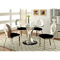 Furniture of America Maiorga I 5-Piece Round Glass Top Dining Set