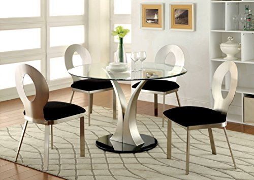 Furniture of America Maiorga I 5-Piece Round Glass Top Dining Set (Glass Dining Oval Top Table)