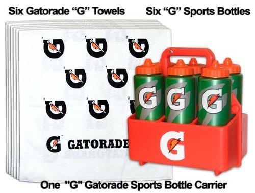 Mini Team Gatorade G Sports Pack = 6 G Bottles, 1 Carrier, and 6 Gatorade 'G' Towels