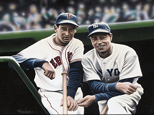 Buyartforless Canvas Ted Williams and Joe DiMaggio by Darryl Vlasak 32x24 Painting Print on Wrapped Canvas Memorabilia Baseball Legends Boston Red Sox New York Yankees. Made in The - Dimaggio Joe Painting