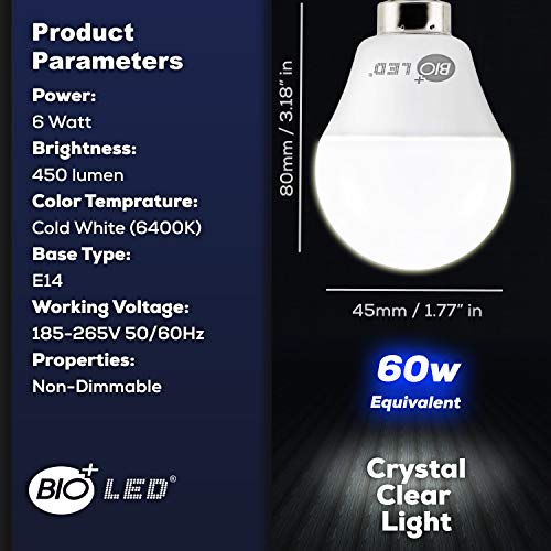Bioled 6W E14, 6er Pack, Kaltweiß 6400K LED Glühbirnen, 6W (Ersetzt 60W Halogenlampe), LED Tropfen, E14 LED Leuchtmittel, G45 Mini Globe LED, Tropfenform mit E14-Sockel, 270° Abstrahlwinkel, Lampe P45