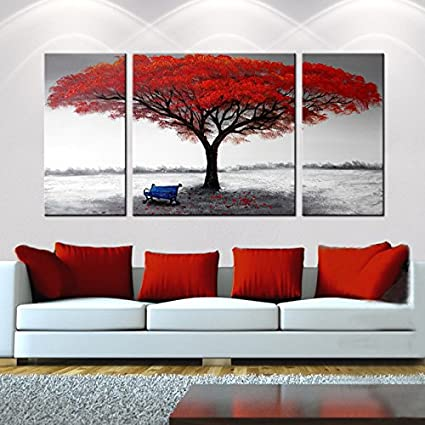 Amazoncom Hand Painted 3 Piece Gallery Wrapped Home Canvas Wall