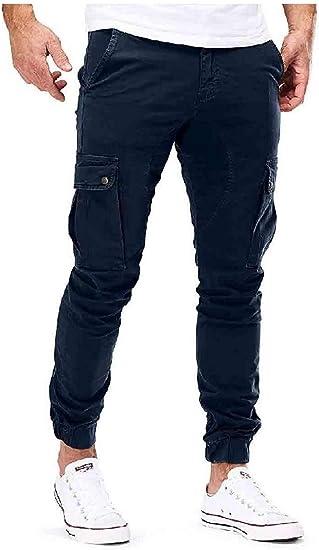 EnergyWD 男性のプラスサイズポケットソリッドカーゴ戦闘作業パンツサイドポケット付き