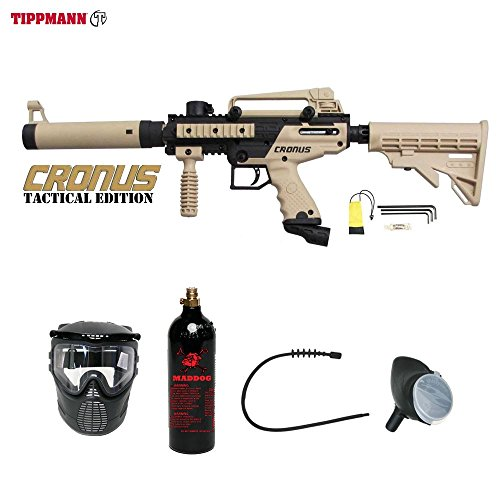 MAddog Tippmann Cronus Tactical Bronze Paintball Gun Package - Black/Tan