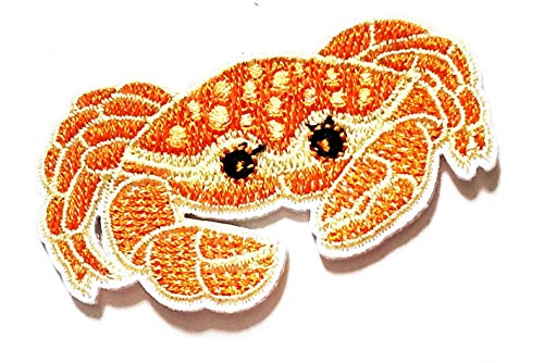 2.7'' X 1.5'' Cute Sea Crab Orange Lobster Cartoon Kids Logo Jacket t-Shirt Jeans Polo Patch Iron on Embroidered Logo Sign Badge Comics Cartoon Patch by Tour les jours Shop