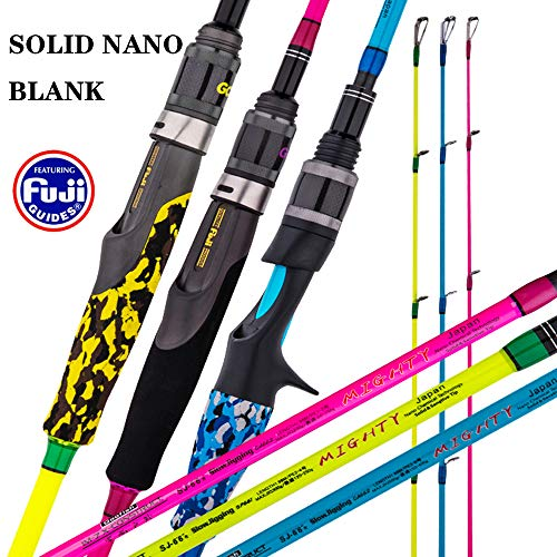 GOOFISH Solid Nano Blank Slow Pitch Jigging Rod Light Shore Jigging Rod Slow Action Pitch Rod Pe 2-4 1.98m(6'6') (2piece&Casting&Spiral Guide Model, 6'6')