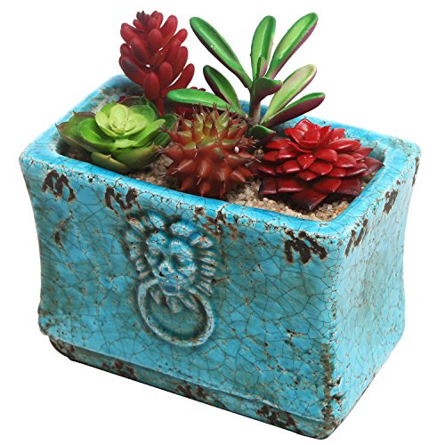 Crackled Ceramic Succulent Planter Embossed