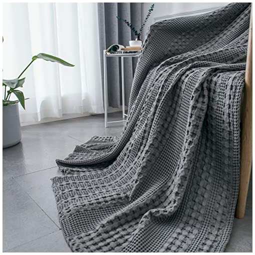 Bedroom PHF 100% Cotton Waffle Weave Blanket Queen Size – Luxury Decorative Soft Breathable Skin-Friendly Blanket for All Season… pergolas