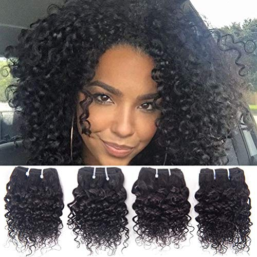 Brazilian Curly Human Hair Weave 4 Bundles Remy Virgin Unprocessed Real Hair Extensions Brazilian Jerry Curly 8A Grade Cheap 8 Inch Natural Black Color -