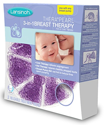 : Lansinoh TheraPearl 3-in-1 Breast Therapy Pack, Hot or Cold use for Nursing Mothers to decrease Engorgement, encourage Let-Down and increase Milk Production, use with any Breastpump, 2 Count, 2 Covers