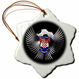 3dRose orn_159465_1 Croatia Soccer Ball with Crest Team Football Croatian Snowflake Porcelain Ornament, 3-Inch