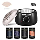 Wax Hair Removal Last - Wax Warmer Hair Removal Kit, Professional Wax Heater Pot Self-Waxing Spa 4 Flavors Hard Wax Beans + 20 Wax Applicator Sticks Upgraded Temperature Setting Electric Wax Heater Home Waxing