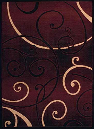 United Weavers of America Dallas Bangles Rug – 7ft. 10in. x 10ft. 6in., Burgundy Red, Jute Backing Rug with Scrollwork Pattern. Modern Indoor Rugs