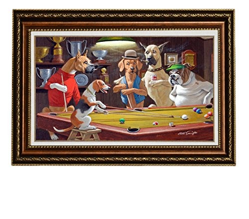 Framed Pool Dogs Playing (Elite Art Eliteart-Dogs Playing Pool (c) By Arthur Sarnoff Oil Painting Reproduction Giclee Wall Art Canvas Prints-Framed Size:26