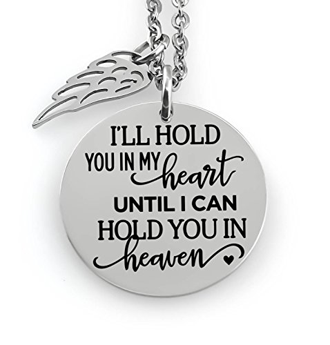 Mommy Jewelry (Memorial Jewelry Necklace - I'll hold you in my heart until I can hold you in heaven- Angel Wing)
