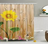 Ambesonne Sunflower Decor Collection, Sunflower Painting on Wooden Background Vertical Timber Countryside Fence Landscaped Image, Polyester Fabric Bathroom Shower Curtain Set with Hooks, Yellow Ivory