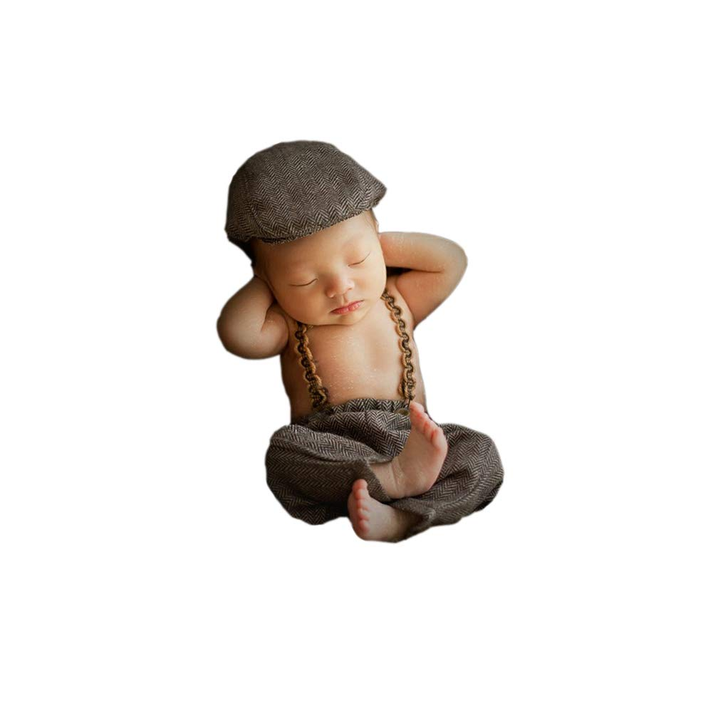 Infant Baby Photo Props Crochet Romper Newborn Photography Caps Set Cool Monthly Boys Knitted Berets Hat Outfits Clothes 3pc Brown