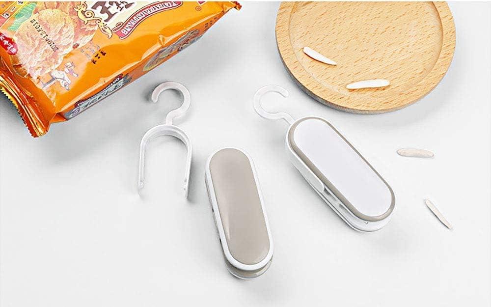 Conservazione di Alimenti e Sacchetti di Cereali Portatile Della Mano Sealer per Sacchetti di Plastica con Chip Merenda Mitening Sigillatore per Sacchetti Mini Termico con Taglierina Bianca
