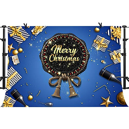 PHMOJEN Blue Merry Christmas Photography Backdrop Gold Bowknot Gifts Balls Jingling Bell Background Vinyl 10x7ft Decorations LYPH477