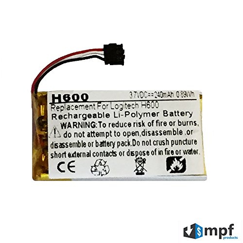 240mAh 533-000071, AHB521630, 1110 Battery Replacement for Logitech H600 Wireless Headset (981-000341)